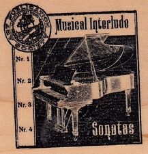 "sonatas grand piano club scrap  Wood Mounted Rubber Stamp 2 x 2""  Free Shipping"