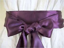 """2.5 """"allegati al"""" Melanzana Raso Sash Belt Self TIE Bow aggiornamento partito Prom FANCY DRESS"""