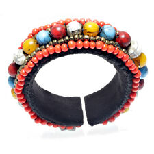 Coral Mixed Color Resin Bead Cuff Bracelets Handcrafted Tibetan Nepalese Jewelry