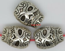 50pcs Retro style auspicious Tibet Silver skull Charms Spacer Beads 10x8mm