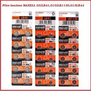 Piles Cells bouton alcaline/Lithium Maxell LR41/LR1130/LR44/CR2032/CR2025/CR2016