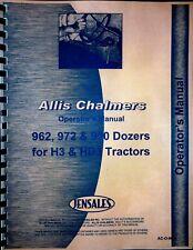Allis Chalmers 962 972 990 Dozer Operators Manual Parts Catalog H3 Hd3 Crawler