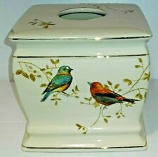 "Gilded Birds Ceramic Ivory Tissue Cover Bed Bath Beyond 5"" wide by 6"" high"