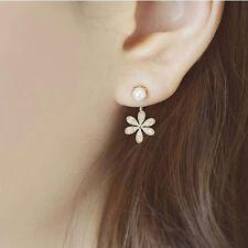 1Pair Women Girls Flower Pearl Rhinestone Crystal Dangle Ear Stud Earrings Style