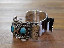 Silver Watch Cuff Bracelet Vintage Navajo Turquoise Sterling