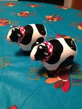 Russ Farmer Moo Cow Porcelain Ceramic Salt & Pepper Shaker Shakers Set Brand New
