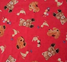 Bear Necessities for Quilting Treasures BTY Popcorn the Bear Dog Duck on Red