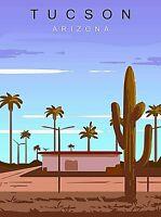 Tucson Arizona Retro United States Travel Art Poster Print