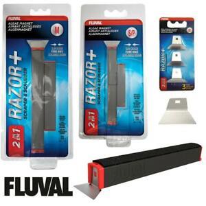 Fluval 2in1 Razor+ Algae Magnets Blades Scraper Cleans Aquarium Glass 2 Sizes