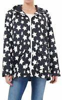 New Ladies Plus Size All Over Star Print Showerproof Mac Jacket Raincoat 18-24