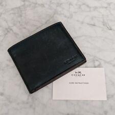 Coach Men's Leather Slim Billfold ID Wallet, Racing Green, C $175, NWT