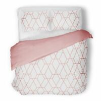 METRO GEOMETRIC DIAMOND BLUSH PINK KING SIZE DUVET COVER SET BEDDING POLYCOTTON