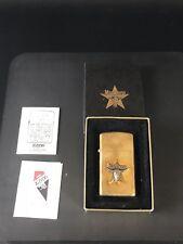 Vintage 1992 Brass Marlboro Star With Long Horn Bull Zippo Lighter