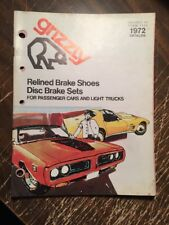1972 GRIZZLY CATALOG DRUM BRAKE SHOE & DISC BRAKE SHOE SETS, Catalog 36 PG