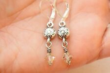 Altered Brighton Silver Etched Charm Dangle Gold Crystal On Lever Back Earrings