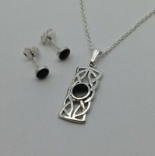 Whitby jet and silver pendant and earring set. Hand made in whitby  JS 050