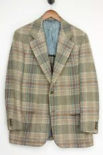 Vintage Southwick Hombre Tweed Abrigo Deportivo 40R Verde Beige Marrón Cuadros