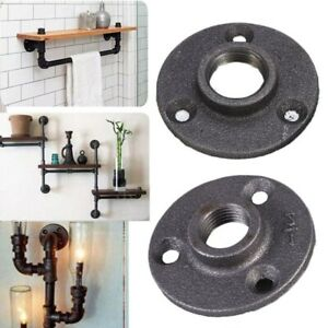 """10-50 BLACK MALLEABLE IRON BSP FLOOR/WALL FLANGE - PLATE - FURNITURE - 1/2"""" 3/4"""""""