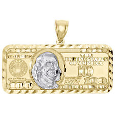 "10k Yellow Gold Hundred Dollar Bill Benjamin Franklin Pendant Charm 1.50"""