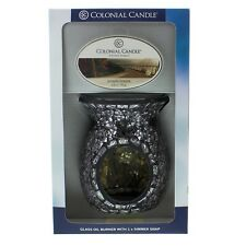 Aqua Mosaic Glass Melt Warmer Oil Burner Gift Set by Colonial Candle with melts