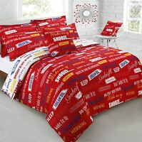 SNOOZE SLEEP WAKE UP RED WHITE KING SIZE COTTON BLEND DUVET COMFORTER COVER