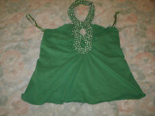 Tina Antoniades ladies green beaded halter top new with tags size small