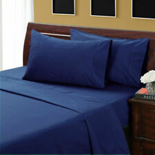1000 TC Egyptian Cotton US-Queen Size 3PC Flat Sheet Set Navy Blue Solid