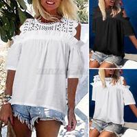 UK Women Cold Off Shoulder Lace Crochet Tops Casual Loose T Shirt Blouse Plus