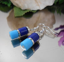 Walzen Ohrhänger in Blau Türkis mit Ohrhaken - Ohrschmuck