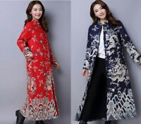 Womens Vintage Collar Long Quilted Jacket Chinese Qipao Dargon Robe Coat Outwear