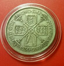 1930 GEORGE V XF BRITISH SILVER FLORIN 2 SHILLINGS COIN  PROTECTIVE CAPSULE