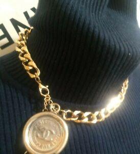 CHANEL VINT GOLD CHAIN BELT CC COIN MEDALION NECKLACE COCO BRACELET CHOCKER SALE
