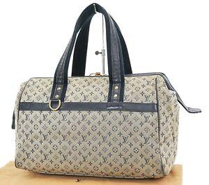 Authentic LOUIS VUITTON Josephine GM Blue Mini Lin Hand Bag Purse #37267