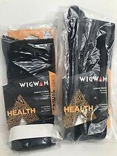 2x Wigwam Unisex Diabetic Walker Casual Dress Black Socks XLarge - Men's 12-15