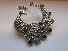GENUINE RUBY, EMERALD & SAPPHIRE PEACOCK BROOCH MARCASITE 925 STERLING SILVER