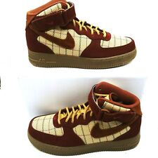 Nike Air Force 1 Mid LV8 Plaid Gum Dark Brown Noble Red CT1206 900 Size 8.5 New