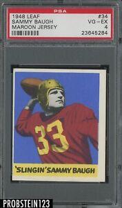1948 Leaf Football #34 Sammy Baugh Maroon Jersey RC Rookie HOF PSA 4 VG-EX