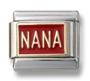 Italian Charm Bracelet 9mm Modular Link NANA Red Enamel Mothers Day Gifts 18K