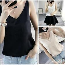 Women Satin Silk Cami Strappy T-shirt Ladies V Neck Sleeveless Top Tee Vest JJ