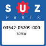 03542-05209-000 Suzuki Screw 0354205209000, New Genuine OEM Part