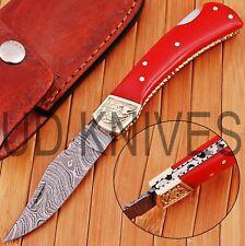 UD KNIVES CUSTOM HAND FORGED DAMASCUS STEEL POCKET FOLDING HUNTING KNIFE R-4704