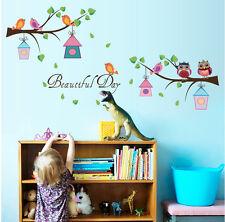 Beautiful Day Bird House Owl Wall Sticker Children Nursery Baby Room Decor Decal