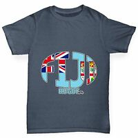 Twisted Envy Boy's Fiji Rugby Ball Flag Funny Cotton T-Shirt