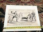 LETTING THE CAT OUT OF THE BAG Lincoln Political Original Litho Currier & Ives