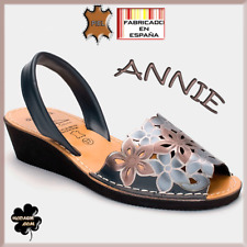 Sandalias de piel FABRICADAS EN ESPAÑA, modelo Annie color negro , menorquinas