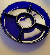 """Vintage Cobalt Blue Glass Divided Relish Dish Made in France 9 3/4"""""""