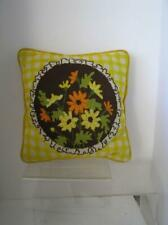 """HAND NEEDLEPOINT French Shabby  FLORAL ART Square  PILLOW  12"""""""
