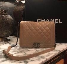 Chanel Boy Bag Large 2014 Beige Ruthenium Hardware (silver)