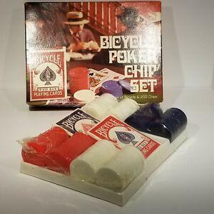 Poker Chip Set Vtg 2 Deck Bicycle Cards 200 Chips Vintage Factory Sealed