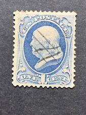 Scott #182 US Postage Stamp Franklin 1 Cent Slate Blue #29